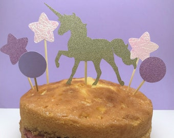 Gold, pink & purple unicorn cake topper, perfect birthday cake topper or party decoration for a unicorn party, unicorn birthday cake topper