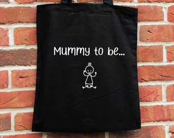 Mummy to be tote bag, perfect mother's day gift for a mum to be or as a new mum gift.  Ideal as a baby shower gift or a new baby gift