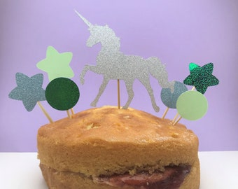 Silver, blue & green unicorn cake topper, perfect birthday cake topper or party decoration for a unicorn party, unicorn birthday cake topper