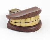 Walnut & Brass Weird Teeth - Golden Denture - Italy - Carved Wood - Brass Hardware - Curiosity