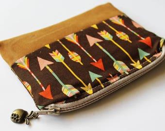 tobacco pouch Coin Purse Boho Arrow Purse Change Pouch bohemian coin pouch Card Wallet Zipper Card Holder Small purse Zipper Pouch