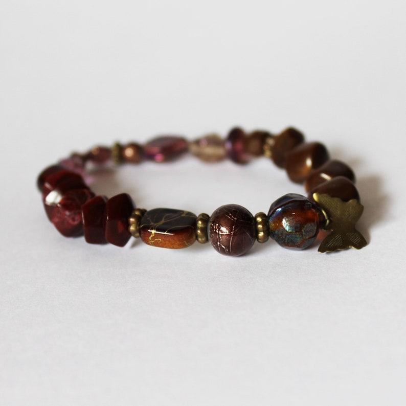 gypsy bracelet stretch bracelet boho bracelet hippie bracelet beaded stretch bracelet Butterfly Beaded Bracelet elastic bracelet