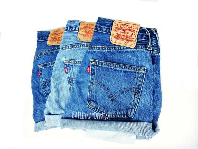 08f98a47 Levis High Waisted Cuffed Denim Shorts Rolled Up Denim Shorts | Etsy