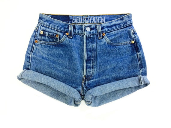 38154fd5d6 Levis High Waisted Cuffed Denim Shorts Rolled Up Denim Shorts | Etsy