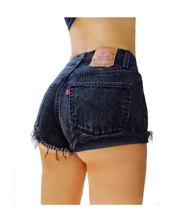 Levis High Waisted Denim Shorts Cuffed Rolled Black Denim Shorts  800b11528