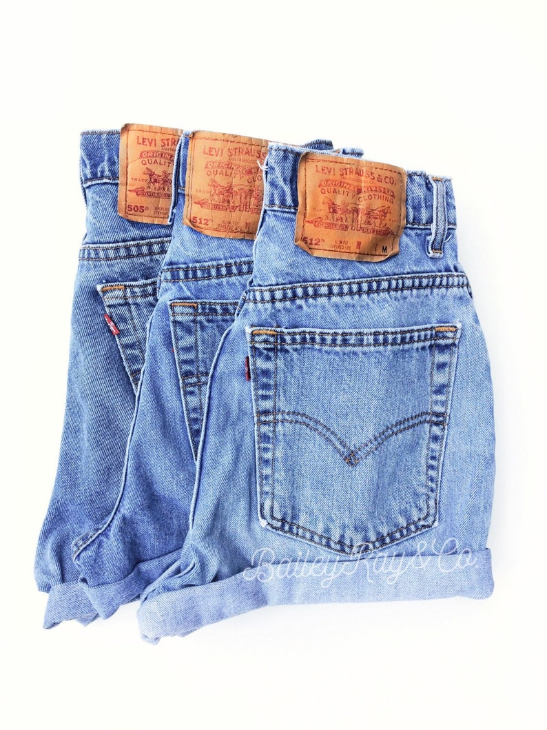 d591e96b Levis High Waisted Cuffed Denim Shorts Rolled Up Denim Shorts | Etsy