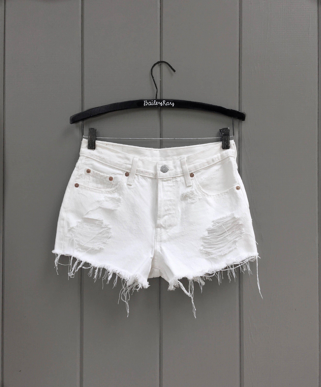 d9db91cde Levis High Waisted White Denim Shorts Sizes 00 10 High | Etsy