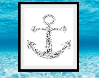 Anchor Print, Anchor Word Art, Gift For Sailor, Gift For Friend, Anchor  Word Collage, Anchor Word Cloud, Personalised Anchor Print.