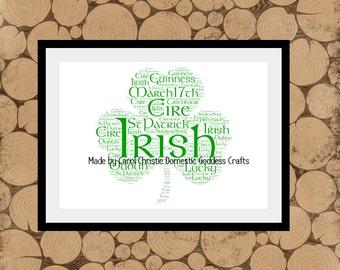 Personalised Shamrock Print, Shamrock Word Art, Shamrock Word Cloud, Irish Word Art, Irish Word Cloud, St Patricks Day Gift, Good Luck Gift.