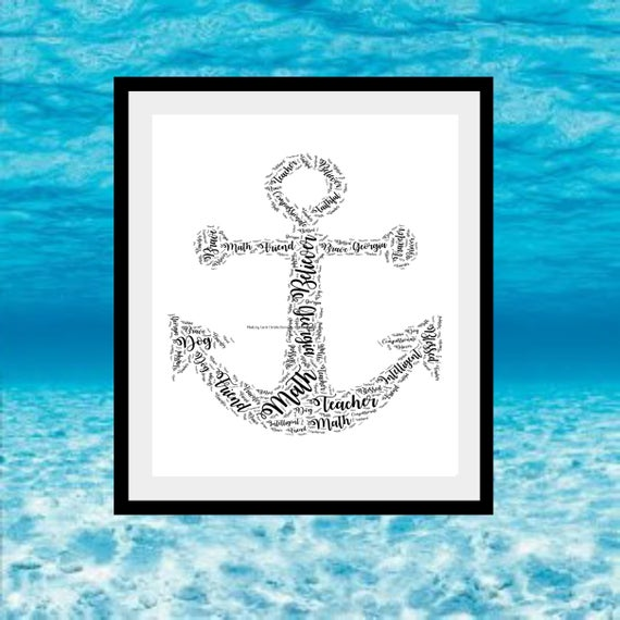 Anchor Print Anchor Word Art Gift For Sailor Gift For Etsy