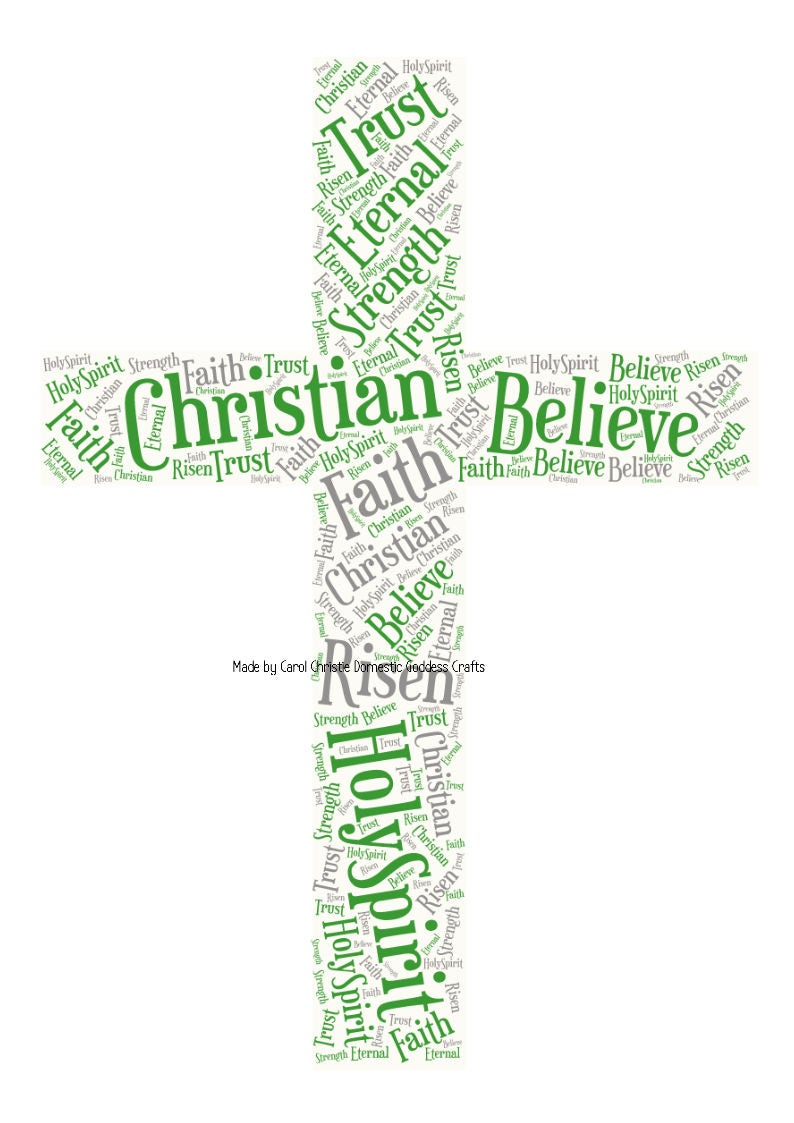 Cross Word Collage Confirmation Gift Christening Gift Easter Gift Communion Gift. Cross Wordle Cross Word Art Gift For Christening
