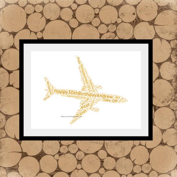 Personnalisé avion word art pour anniversaire ou cadeau de noël enfants