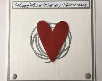 Third Wedding Anniversary Card, Vegan Leather Anniversary Card, 3rd Anniversary Card, Wedding Card, Engagement Card, Leather Heart For Vegan
