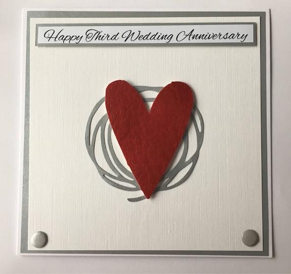 third wedding anniversary card vegan leather anniversary