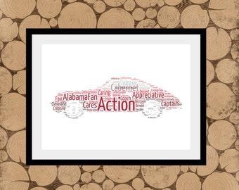 Porsche Word Art, Personalised Porsche Print, Porsche Word Collage, Gift For Porsche Owner, Car Word Collage, Birthday Gift For Him
