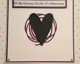 Third Wedding Anniversary Card, Leather Anniversary Card, 3rd Anniversary Card, Heart Card, Wedding Card, Engagement Card, Anniversary Card.