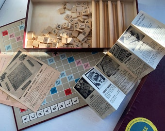 """1950s Scrabble Complete Game - No """"Star Points"""" Game Board Dates Pre-1960 - Includes Game Catalog"""