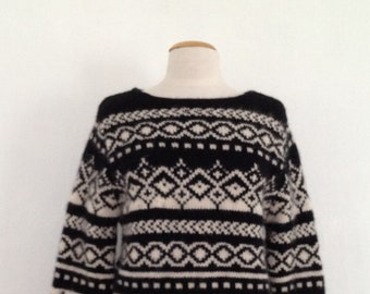 boat neck sweater vintage 90s pullover nordic sweaters women fair isle sweater wool boatneck