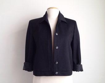 cropped black jacket vintage black blazer womens short jacket 90s minimalist blazer black 1990s clothes small