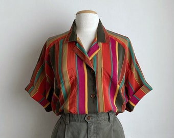 80s striped blouse vintage 80s oversized shirt womens silk button up top 90s collared