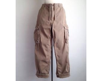 vintage cargo pants baggy khaki pants wide leg pants 30 waist boyfriend trousers loose fit pocket draw string waist
