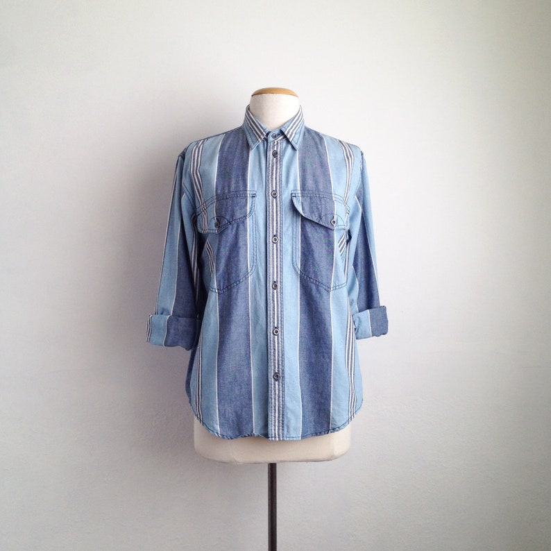 9827ebe4 ... Vintage denim shirt womens cotton striped shirt denim clothing Etsy