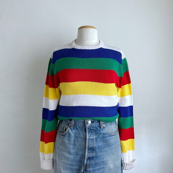 striped 80s sweater vintage pullover sweater cotto