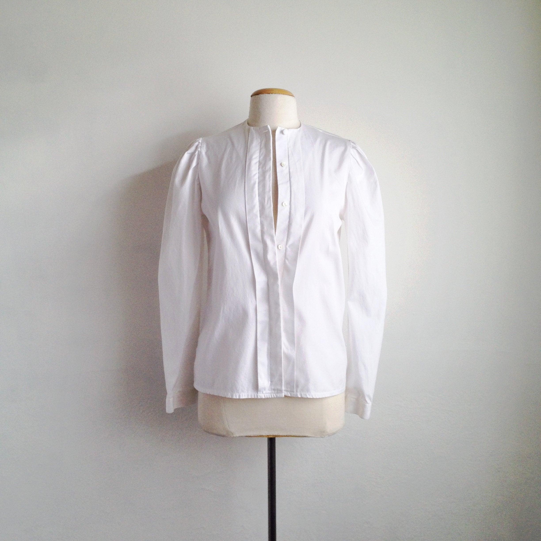 90s White Shirt Womens White Blouse Collarless Blouse Long Etsy