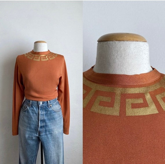orange 40s top vintage long sleeve 40s blouse rayo