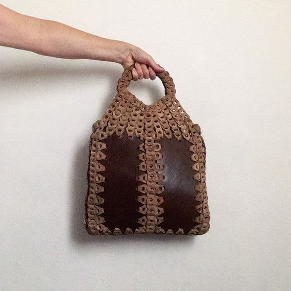 boho 70s hippie purse vintage 70s brown leather ba