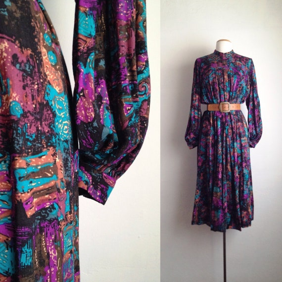 70s long sleeve midi dress abstract print trapeze