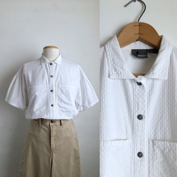 80s white camp shirt vintage 80s white shirt women