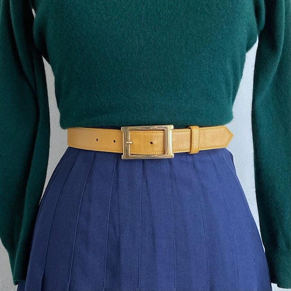 gold tone buckle 90s belt vintage pant belt womens
