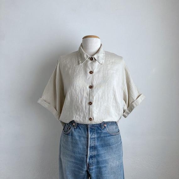 natural linen shirt vintage womens short sleeve li