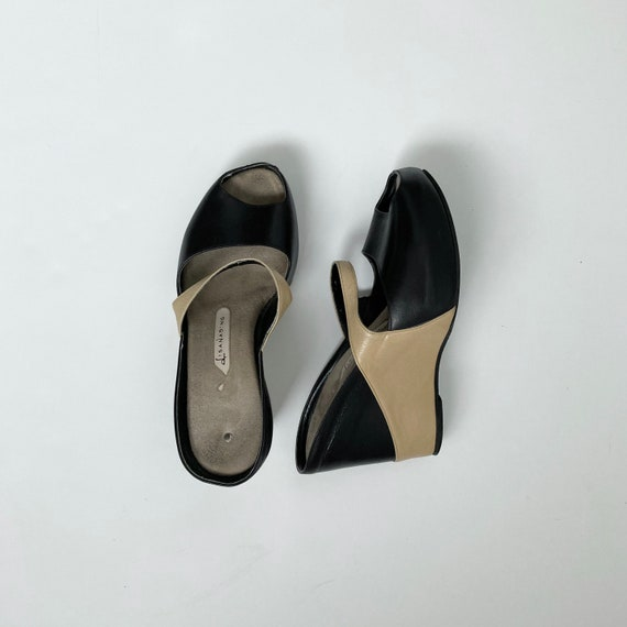 leather wedge heels open toe shoes 90s mules size… - image 5