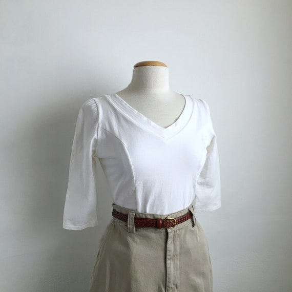 fitted white 90s top vintage white fitted t shirt