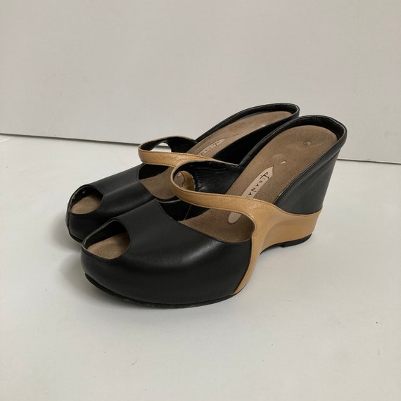 leather wedge heels open toe shoes 90s mules size… - image 2