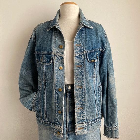 distressed trucker jacket 70s denim jacket vintag… - image 2