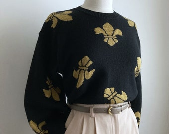 black 80s sweater vintage wool black pullover sweater womens 1980s holiday top