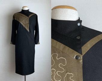 80s black dress winter long sleeve dress womens wool abstract high neck