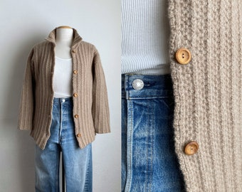 vintage wool cardigan sweater womens cable knit sweater khaki color