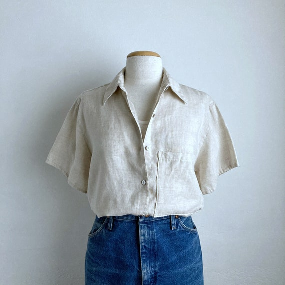 80s linen shirt vintage boxy oversized top womens