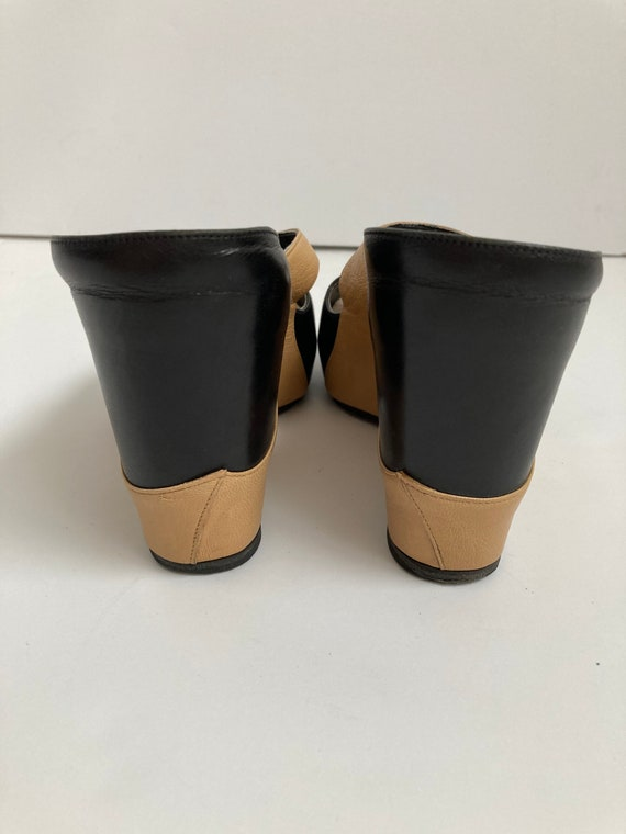 leather wedge heels open toe shoes 90s mules size… - image 4