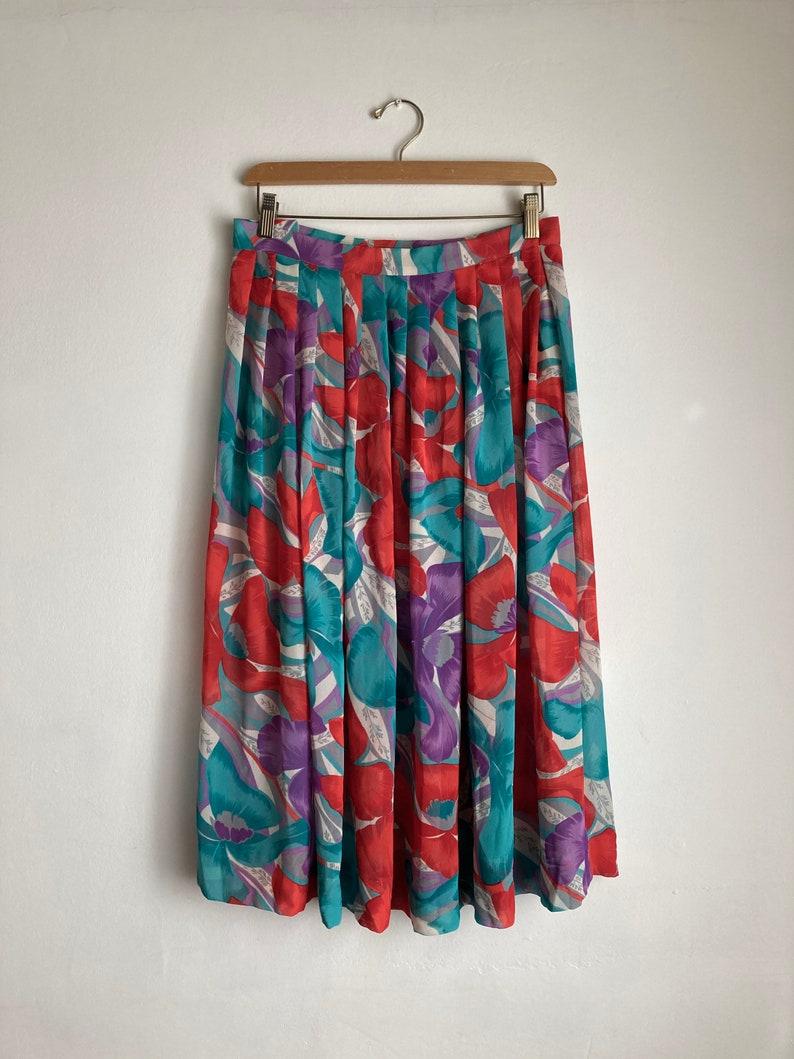 full 80s floral skirt vintage floral print midi skirt womens 1980s crepe chiffon