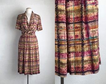 skirt set vintage full skirt midi plaid dress two piece silk short sleeve blouse