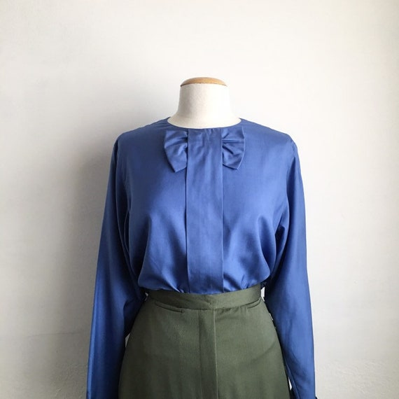 90s silk bow blouse vintage womens long sleeve sil