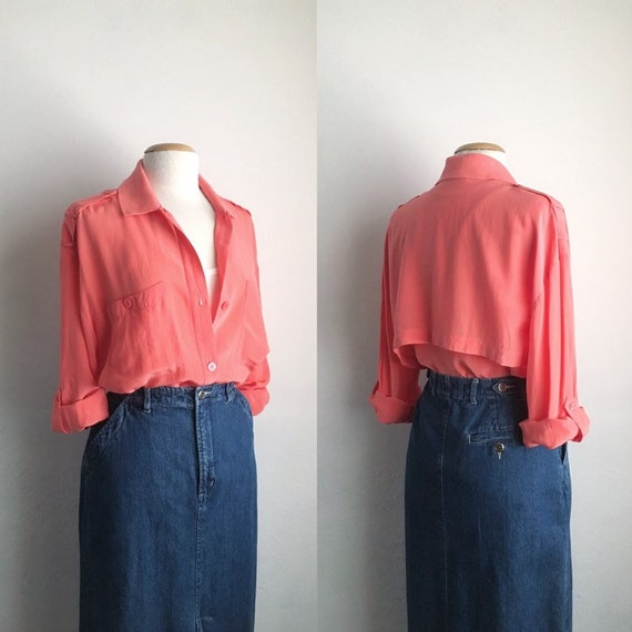 80s silk shirt vintage womens long sleeve silk blo