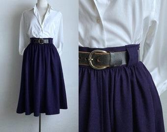 full wool skirt vintage YSL womens full skirt winter wool purple small designer