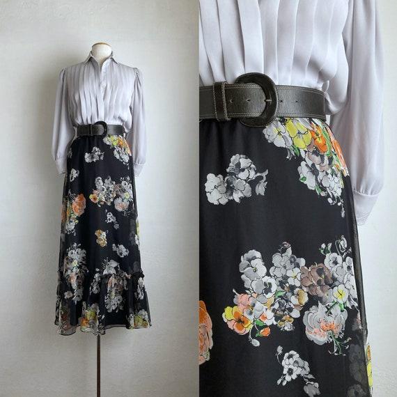 floral 70s maxi skirt vintage 70s skirt long black