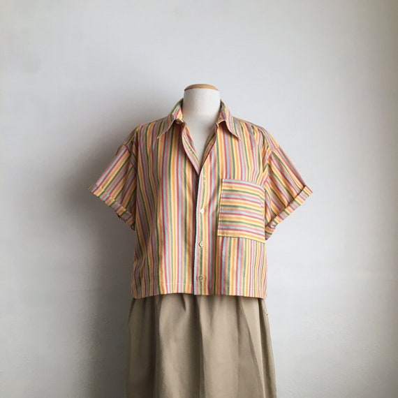 80s cropped shirt vintage striped 80s top womens b